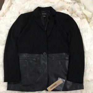 Faux Leather Work Blazer